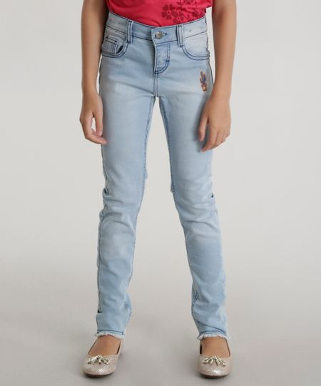 Calça Jeans com Patch Azul Claro