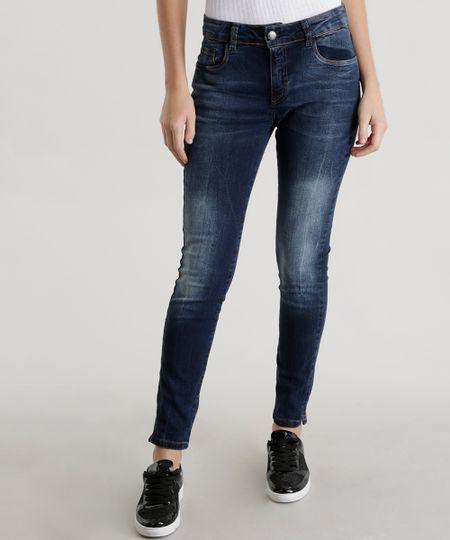 Calça Jeans Cigarrete Azul Escuro