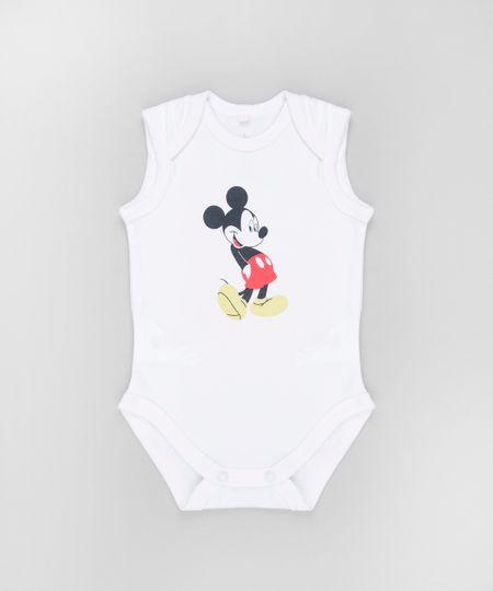 Body Mickey em Algodão + Sustentável Off White