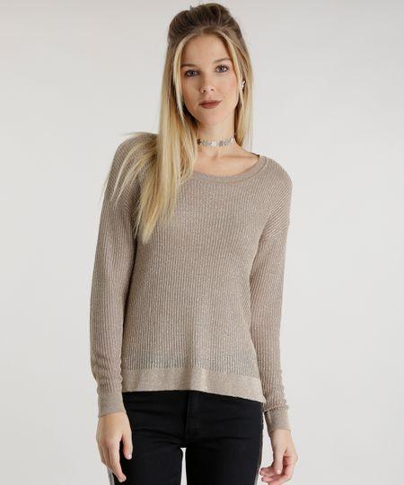 Suéter em Tricô com Brilho Bege