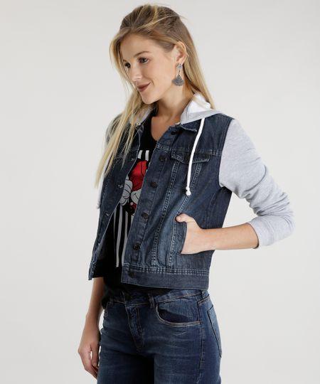Jaqueta Jeans com Moletom Azul Escuro