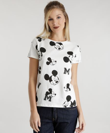 Blusa Estampada Mickey Off White