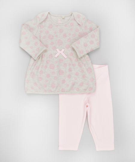 Conjunto de Blusa em Moletom Estampada Bege + Calça Legging Rosa Claro
