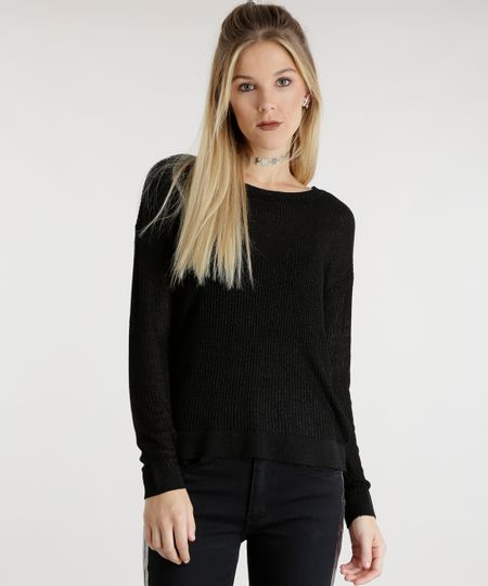 Suéter em Tricô com Brilho Preto