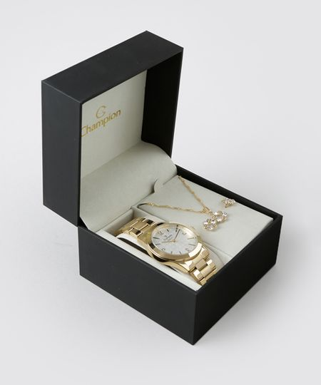 Kit de Relógio Analógico Champion Feminino + Colar + Brinco - CN26546W Dourado