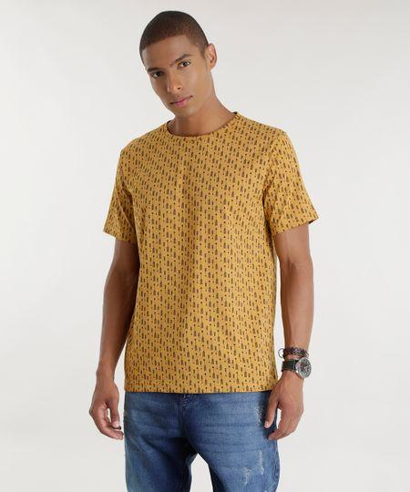 Camiseta Estampada de Flechas Caramelo