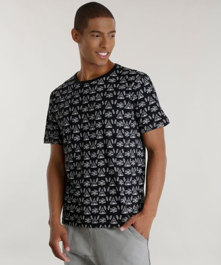 Camiseta Estampada Étnica Preta