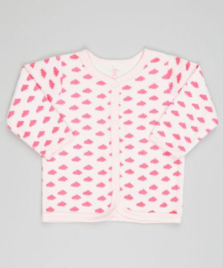 Cardigan Estampado de Nuvens em Plush de Algodão + Sustentável Rosa Claro