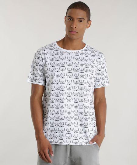 Camiseta Estampada Étnica Branca
