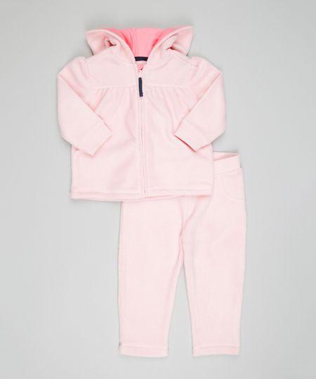 Conjunto de Blusão + Calça em Plush de Algodão + Sustentável Rosa Claro