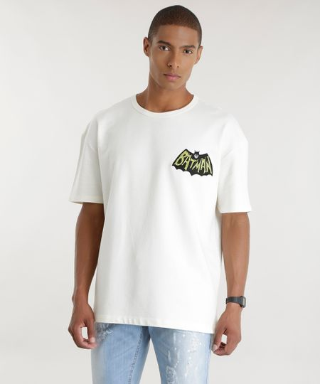 Camiseta Batman em Moletom Off White
