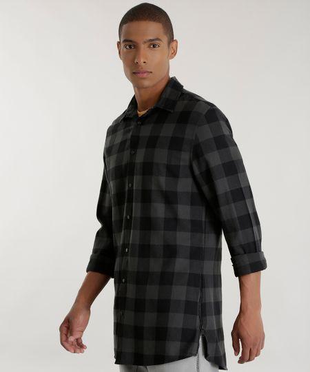 Camisa Longa Xadrez em Flanela Chumbo