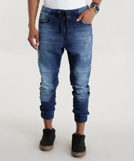 Calça Jeans Cenoura em Moletom Azul Médio