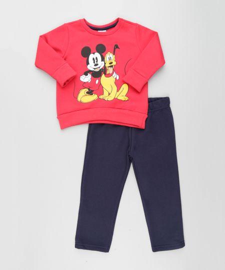 Conjunto Mickey e Pluto de Blusão em Moletom Vermelho + Calça Azul Marinho