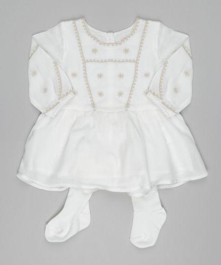 Vestido Bordado +  Meia Calça Off White