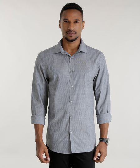 Camisa Slim Estampada Cinza