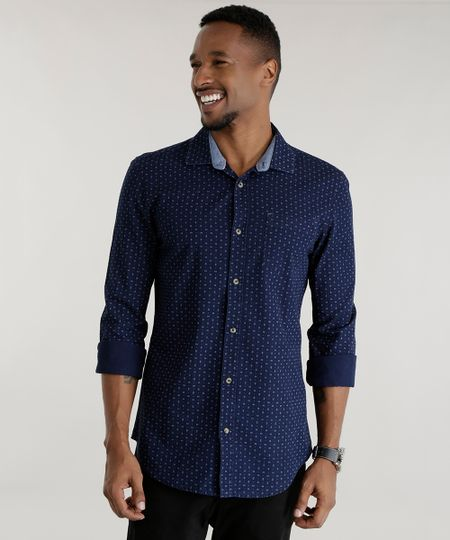 Camisa Slim Estampada Azul Marino