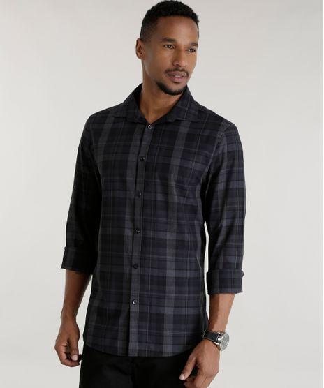 Camisa-Slim-Xadrez-Preta-8456796-Preto_1