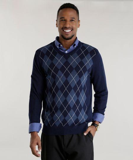 Suéter em Tricô com Estampa Xadrez Azul Marinho