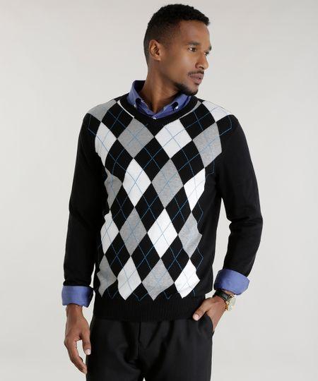 Suéter em Tricô com Estampa Xadrez Preto