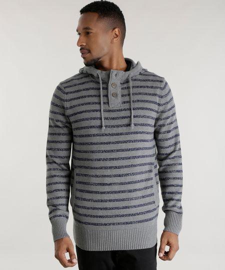 Suéter em Tricô Listrado Cinza