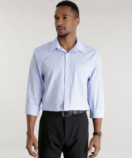 Camisa Comfort Xadrez Azul Claro