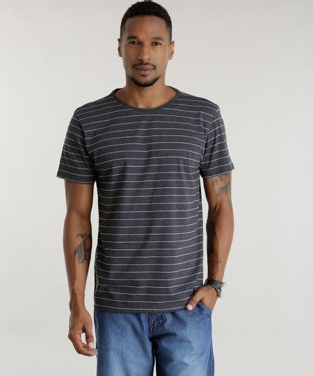 Camiseta Listrada Cinza Mescla Escuro