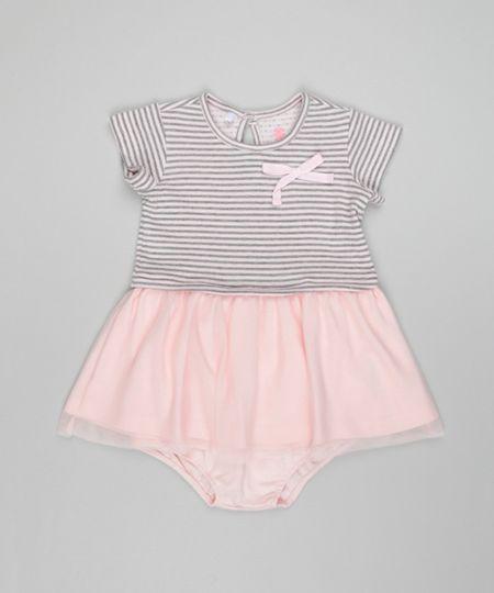 Vestido Listrado com Tule + Calcinha Rosa Claro