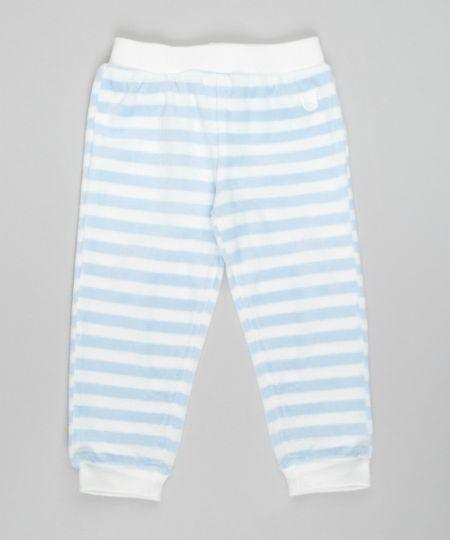 Calça Listrada em Plush de Algodão + Sustentável Azul Claro