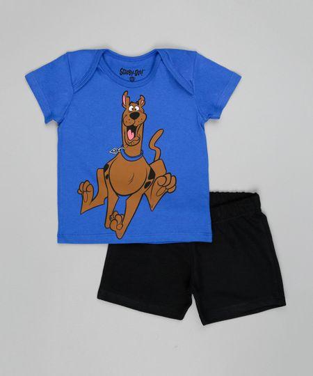 Conjunto de Camiseta Azul + Bermuda Scooby Doo Preta