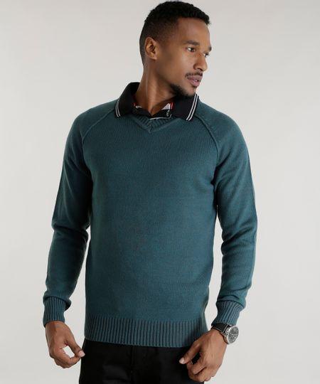 Suéter em Tricô Verde Escuro