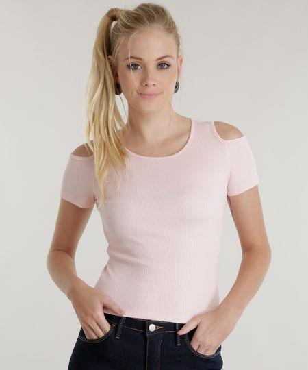 Blusa Básica Cropped Open Shoulder Rosa Claro