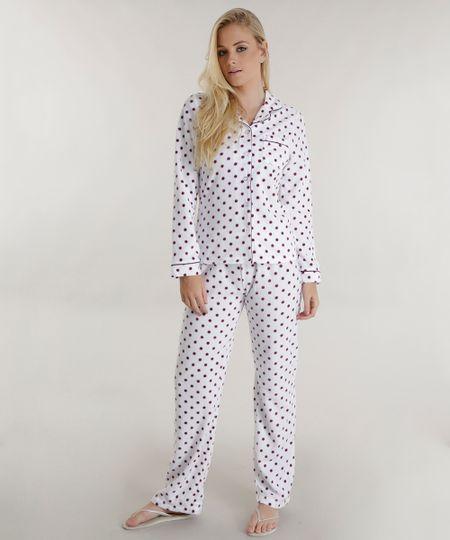 Pijama Estampado de Poá Off White