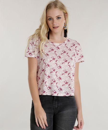 Blusa Cropped Estampada Floral Rosa Claro