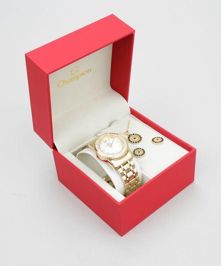 Kit de Relógio Analógico Champion Feminino + Colar + Brinco - CN27303W Dourado