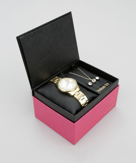 Kit de Relógio Analógico Lince Feminino + Colar + Brinco - K199S2KX Dourado