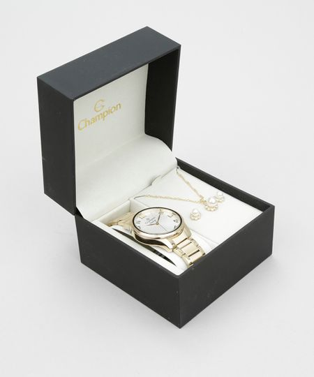 Kit de Relógio Analógico Champion Feminino + Colar + Brinco - CN26064W Dourado