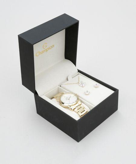 Kit de Relógio Champion Feminino Analógico + Colar + Brinco - CN26411W KIT Dourado