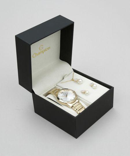 Kit de Relógio Champion Feminino Analógico + Colar + Brinco - CN26055W KIT Dourado