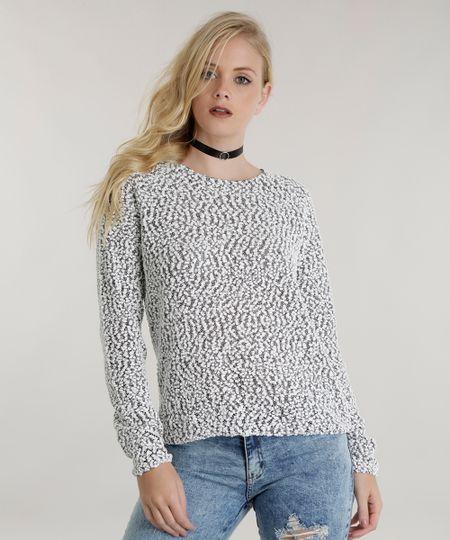 Suéter em Tricô Cinza Mescla