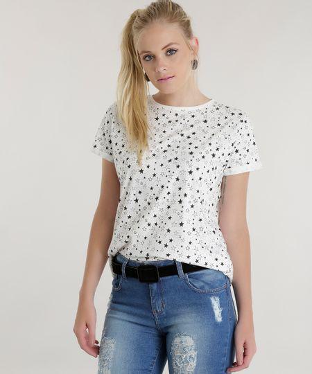 Blusa Estampada de Estrelas Off White