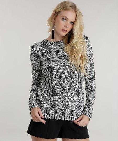 Suéter Étnico em Tricô Preto