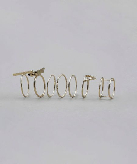 Kit de 7 Anéis Dourado