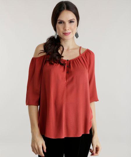 Blusa Open Shoulder Vermelha