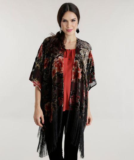 Kimono Estampado Floral Preto