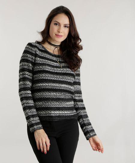 Suéter em Tricô Listrado Preto