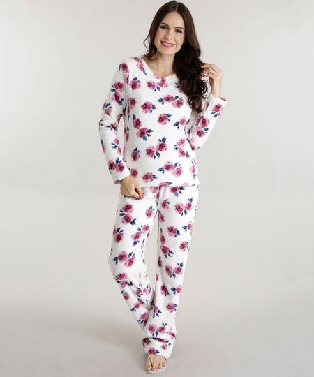 Pijama Estampado Floral em Plush Off White