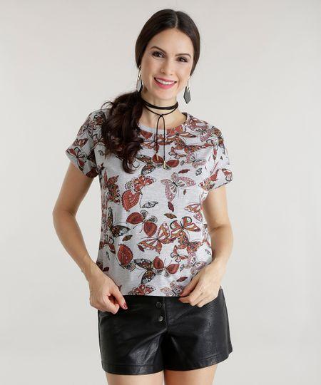 Blusa Estampada de Borboletas Cinza Mescla