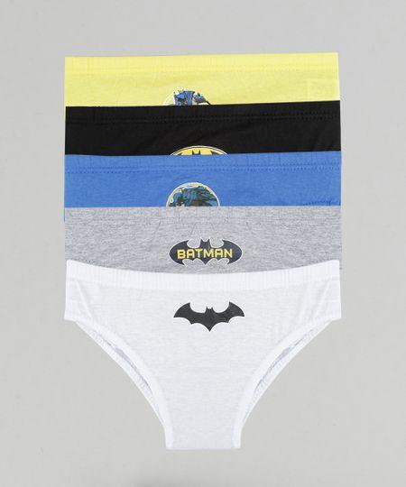 Kit de 5 Cuecas Batman Multicor