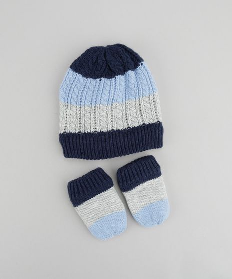 Gorro-Listrado-em-Trico---Luvas-Azul-8489960-Azul_1